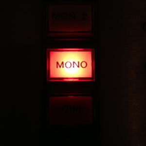 Audio mastering console mono switch